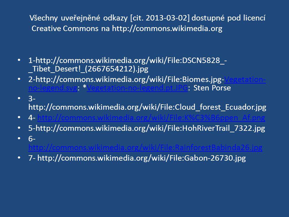 Všechny uveřejněné odkazy [cit. 2013-03-02] dostupné pod licencí